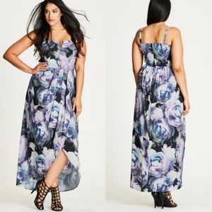City Chic luminous printed faux wrap dress